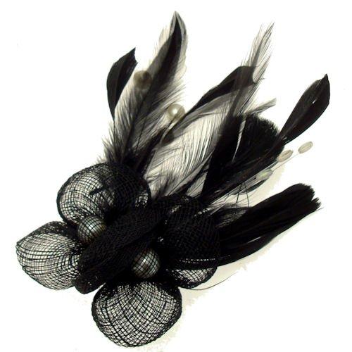 Acosta noir en maille avec perle plume &Perles-Barrette bibi Floral en flacon vaporisateur-Broche/pince à cheveux
