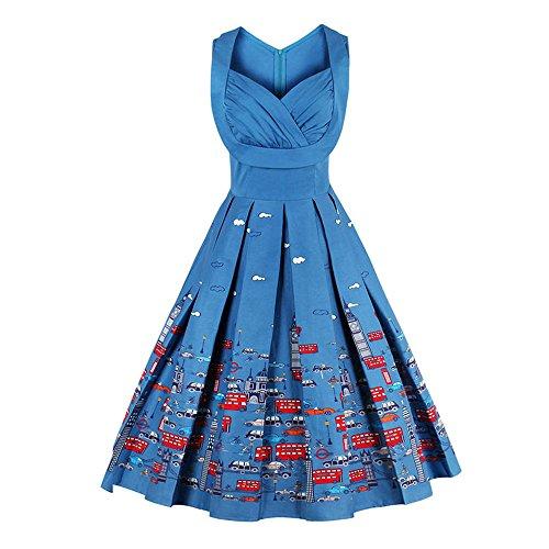 Zaful Robe Vintage années 1950 's Style Audrey Hepburn Rockabilly Swing Sans Manches Robe de Soirée Cocktail Rétro Grande Taille Col V Bleu
