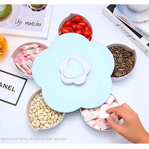 SO-buts Rotierenden Snack Box Flower Design Candy Food Schmuck Organizer, rotierenden Obstteller Blütenblatt Form Obstteller Snack Aufbewa Hrung Stablett Hause Wohnzimmer Candy Dish Obstteller (Blau) -