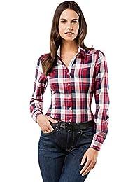 VB Chemisier Femme Modern Fit Taille Normale Motif à Carreaux Manches Longues Infroissable