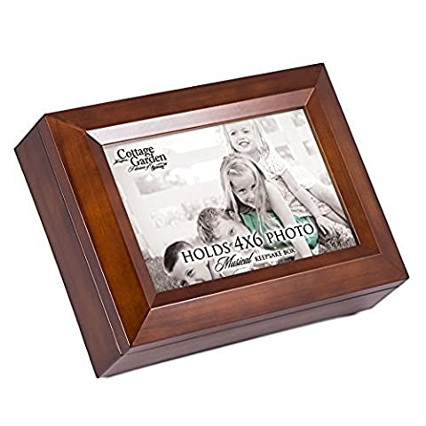 Place 4x6 Photo Here You Are My Sunshine Dark Wood Finish Jewelry Music Box - You Are My Sunshine