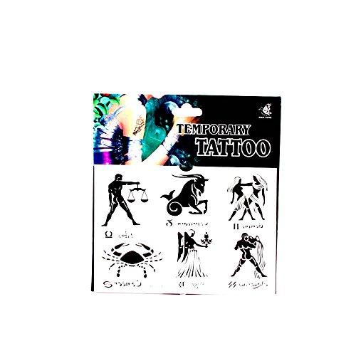 *Tattoos mit 6 großen Sternzeichen, Waage, Steinbock, Zwilling, Wassermann, Jungfrau und Krebs 01-00160