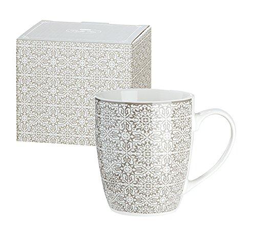 Tasse aus Porzellan Grey Ornament 12x10 cm Kaffeetasse Becher Geschenk Küche Geschirr Ornamente