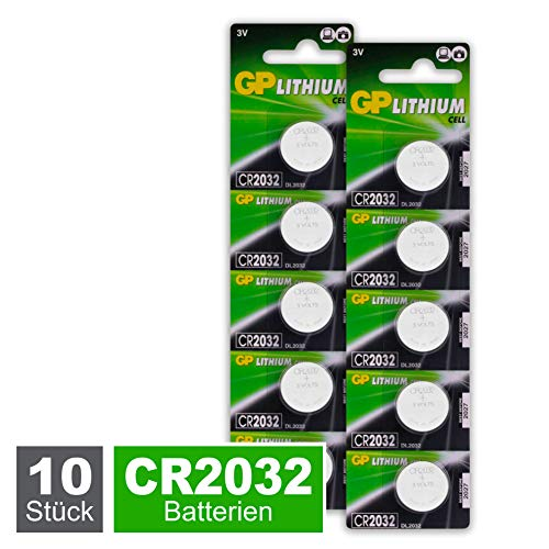 GP CR2032 Lithium Knopfzellen 3V, Knopfbatterien CR 2032 / DL2032, Spannung 3 Volt (10 Stück im 2x 5er Pack, Batterien einzeln entnehmbar)