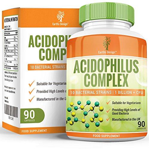 Probiotika-Kapseln - 10 Bakterienstämme - Lactobacillus Acidophilus & Bifidobacterium Bifidum, 1+ Milliarden KBE - Für eine Gesunde Verdauung - Geeignet für Vegetarier - 90 Kapseln (3 Monate Vorrat)