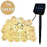 HUAFA Guirnalda luces exterior solares:Especificación del producto:1. Panel Solar: 2V 800 mAh.2. Batería: 800mAh Batería recargable NI-MH3. Tiempo de carga: 6-8 horas4. Tiempo de trabajo: 8-12 horas5. Longitud total: 7 M, 50LEDNota:1.No tuerz...