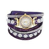 Armbanduhr, PU Bügel Quarz Bewegung Strass Runde kleine Zifferblatt Uhren Armbanduhr(Violett)