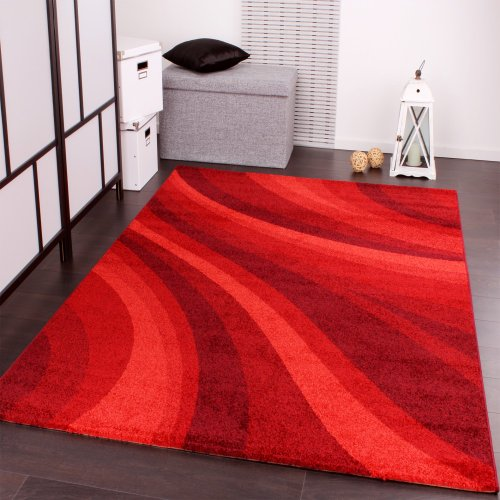 Exceptional Designer Rug Modern Carpets For Living Room And More With Waves Design In  Red, Size:80x150 Cm