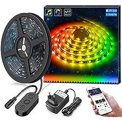 MINGER DreamColor LED Streifen mit eingebautem IC, 5m RGB LED Strips Sync mit Musik, wasserdichte LED Kette mit APP, 150 LEDs SMD 5050 flexibler LED Schlauch mit Netzteil für Deko Party Weihnachten