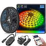 MINGER DreamColor LED Streifen mit eingebautem IC, 5m RGB LED Strips Sync mit Musik, wasserdichte LED Kette mit APP, 300 LEDs SMD 5050 flexibler LED Schlauch mit Netzteil für Deko Party Weihnachten