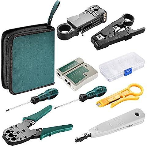 Neewer® Internet Netzwerk-Kabeltester Kabel Crimpwerkzeug LAN RJ45 RJ11 CAT5 Analyzer Werkzeugsatz