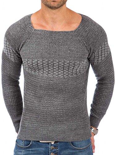 Pullover Herren Strickpullover Winter Pulli Tazzio Slim Fit Langarm Strick Anthrazit - 16-495