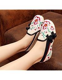 DESY scarpe ricamate, unico tendine, stile etnico, femmina flip-flop, moda, comodi, aumento sandali , beige , 40