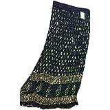 Mogul Interior Womens Skirts Black Sequin Ethnic Print Crinkle Bohemian Long Maxi Skirt