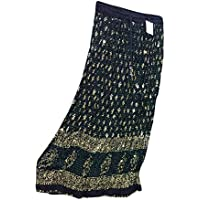 Mogul Interior Womens Skirts Black Sequin Ethnic Print Crinkle Bohemian Long Maxi Skirt