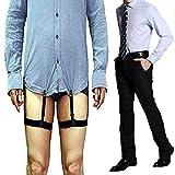 Aliyao Hemdhalter für Herren, mit Strumpfband für den Oberschenkel, verstellbar, elastisch, mit Anti-Rutsch Klemme, mit starken Metall-Clips, hält das Hemd knitterfrei, 1 Paar Schwarz