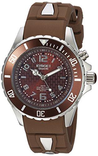 Kyboe. De Potencia De Cuarzo Reloj Casual De Silicona Y Acero Inoxidable, Color: Marrón (modelo: KY. 40–017.15)