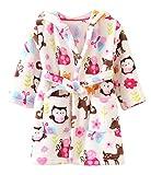 Ruth Wang Kleinkind Baby Winter Fleece mit Kapuze Bademäntel Schlafanzüge-Nachtwäsche-Bademantel-Eule 100cm