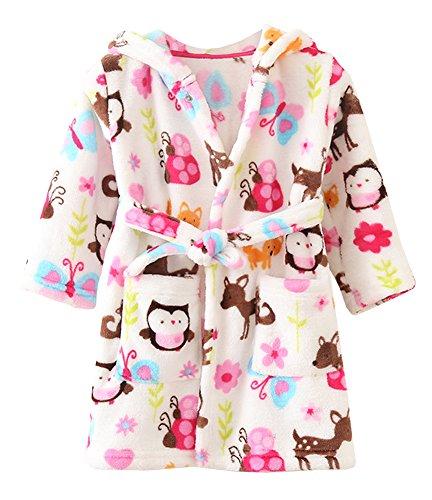 Ruth Wang Kleinkind Baby Winter Fleece mit Kapuze Bademäntel Schlafanzüge-Nachtwäsche-Bademantel-Eule 120cm (Robe Fleece Gemütliche)