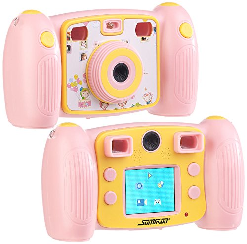 Somikon Kinderfotoapparat: Kinder-Full-HD-Digitalkamera, 2. Objektiv für Selfies & 2 Sucher, rosa (Kinderdigitalkamera)