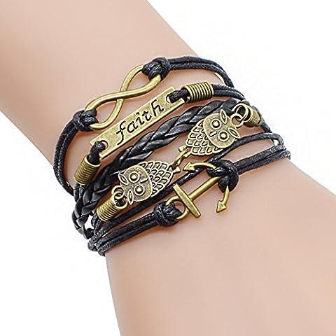 temps Usurier rétro Bronze Chouette ancres Foi Charm réglable Cuir tressé Bracelet