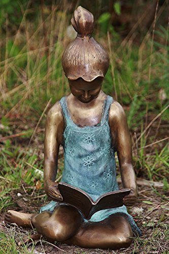 Bronzefigur Lesendes Mädchen, Mädchenfigur, Skulptur aus Bronze