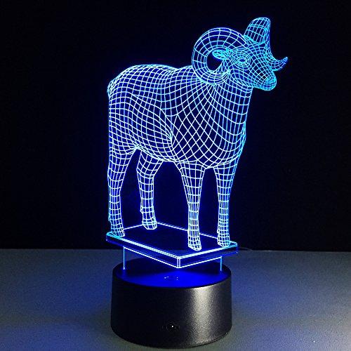 Lámpara LED nocturna para gato, 3D, con 7 colores diferentes, efecto de mariposa, para niños, ideal como regalo de cumpleaños, Ziege, talla única