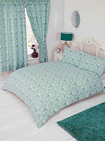 Lit super king Annette Bleu canard, Housse de couette Parure de lit, par My Home, Damas Motif floral, Bleu sarcelle Bleu vert turquoise