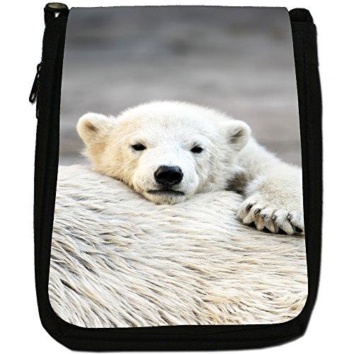 Polar Bears Media Nero Borsa In Tela, taglia M Polar Bear Cub On Mums Back