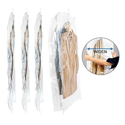 TAILI Wide-Side Hängen Vakuumbeutel mit Kleiderhaken Vakuum-Aufbewahrungsbeutel zum Unterbringen von Kleidung im Schrank, platzsparend, für Kleidung, Kleid und zum Packen, 4 Stück 135 x 70 x 38 cm
