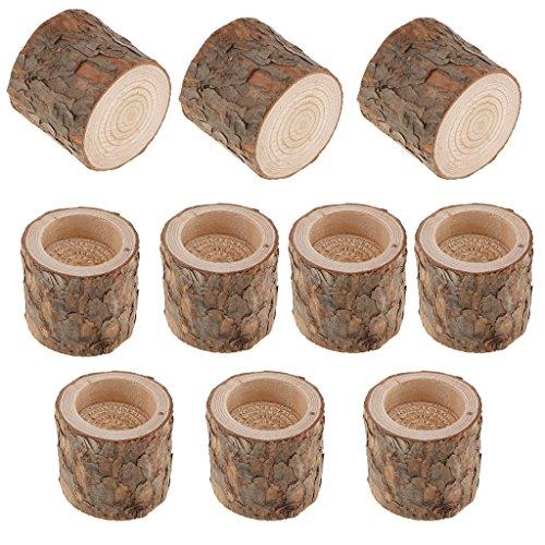 B Blesiya 10er Set Teelichthalter Holz Kerzenhalter Kerzenständer Tischdeko 6cm