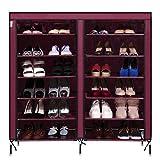 Homdox Schuhregal Neu Bewegliche Schuhständer Doppelreihig mit 6 Schichten 12 Gitter 4 Taschen (Wein-Rot)