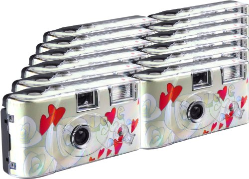 TopShot Lot de 12 appareils photo jetables Flying Hearts pour 27 photos avec flash
