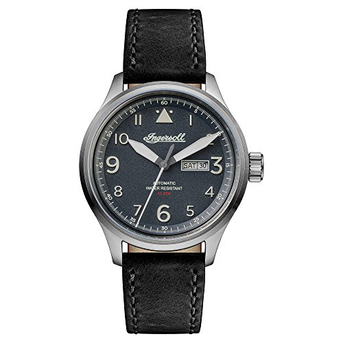 Ingersoll Herren The Bateman Automatic Watch with Schwarz Dial and Schwarz Leather Strap I01802