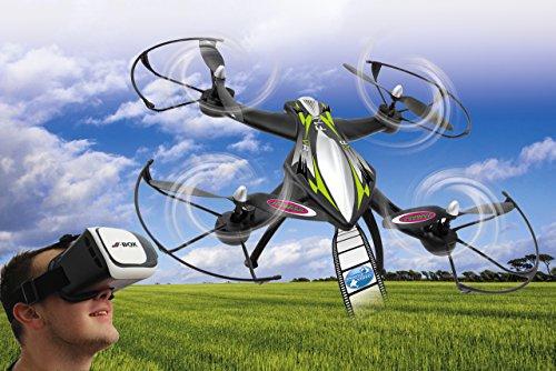 Jamara 422021 - F1X VR Altitude FPV Wifi Kompass Flyback - Race Drone, inklusiv VR-Brille, über Sender und App steuern, 3 Geschwindigkeiten, 40 KM/h, Höhenkontrolle (Barometer) und Rückflugautomatik - 2