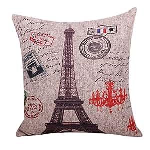 Tour Eiffel en coton / lin Housse de coussin d¨¦coratif