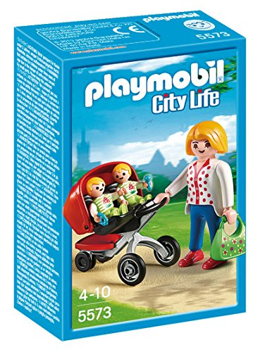 Playmobil- Mother with Twin Stroller Maman avec Jumeaux et Landau, 5573, Multicolore