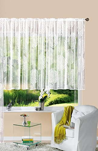 Gardine Store Jacquard Fabio HxB 120x300 cm Kräuselband Universalband Weiß Kreismuster Transparent Voile Vorhang Wohnzimmer, 13143