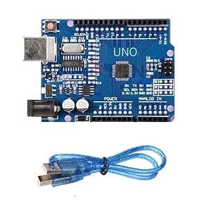 Scheda Arduino Uno Rev 3 con microcontrollore ATmega328 R3 PIU CAVO USB COMPATIBILE