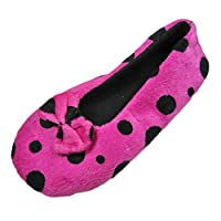 LADIES WARM SPOTTY VELOUR HOUSE SLIPPERS WITH FLEECE LINING-CERISE