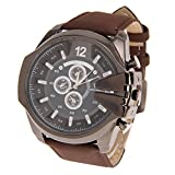 Rrimin New V6 Brand Leather Fashion Men Quartz Sports Watches Brown+Black