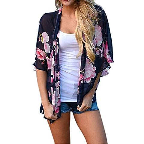 Frauen Kurzarm Tops,Moonuy Blumendruck Strand Chiffon Lose Schal Kimono Strickjacke Top Cover Bluse (M, Marine)