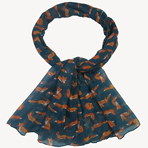 Damen Schal, BBring Mode Frauen Lange Fuchs-Druck Schal Soft Wrap Shawl Große Schals Scarves (Dunkelgrün) (Wrap Mischung Baumwolle)