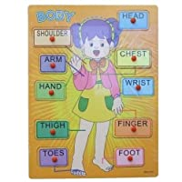 Allkindathings  Traditional Body Wooden Peg Girl Puzzle Bright colors for Learning Aid Tool
