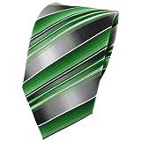 TigerTie Krawatte grün smaragdgrün silber anthrazit grau gestreift - Tie Binder