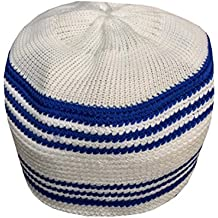 NDA Eid Koofi Muslim Men's Stretchable Kufi Stuff Prayer Cap Muslim Hat (Blue White)