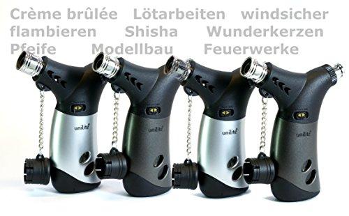 4x Sturmfeuerzeug von Unilite mit arrettierbarer Jetflamme. Nachfüllbares Feuerzeug, Mini-Gasbrenner