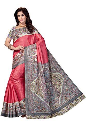 Rani Saahiba Women's Art Bhagalpuri Silk Madhubani Printed Saree ( Skr3266_Pink )