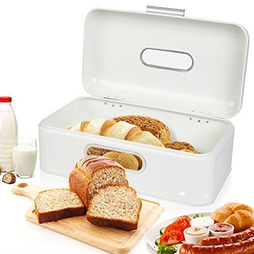 MVPOWER Boîte à Pain de Cuisine Surface Pulvérisée en Alliage d'aluminium Poignée Ouverte Boîte de Fer Fenêtre (Crème de Lait) (modele1)