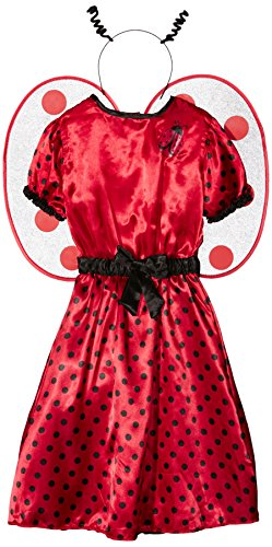 erkostüm Marienkäfer, Kleid, Unterrock, Gürtel mit Schleife, Flügel und Fühler (Marienkäfer Plüsch Mit Flügeln Kostüme)